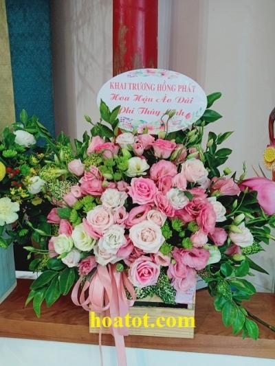 Giỏ hoa màu hường - HT695