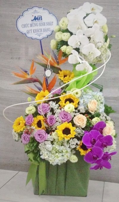 Giỏ hoa chúc mừng sang trọng - DH301