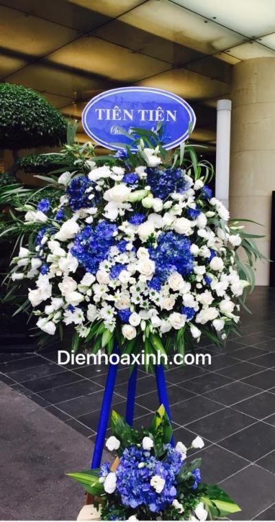 Hoa khai trương trắng xanh - DH443