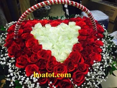 Giỏ hoa trái tim - DH884