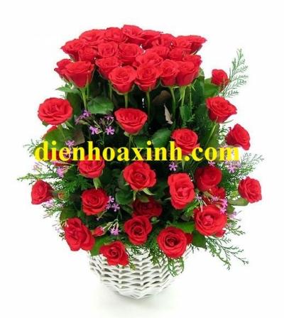 Giỏ hoa hồng đỏ - DH355