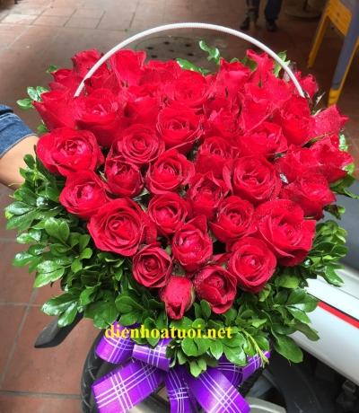 Giỏ hoa trái tim - DH420