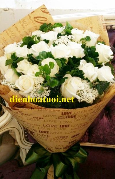 Bó hồng trắng - DH383