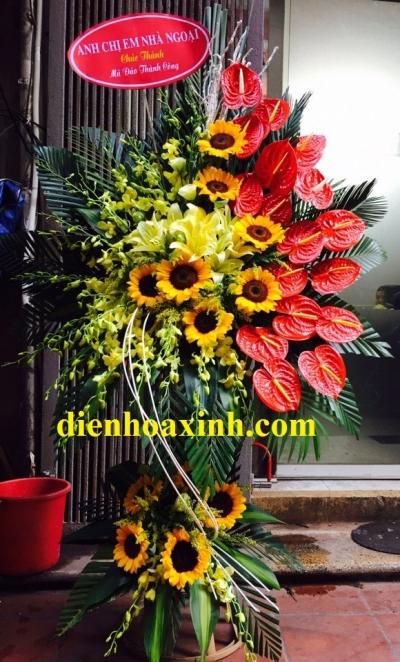 Hoa khai trương có hoa ly và đồng tiền - DH53