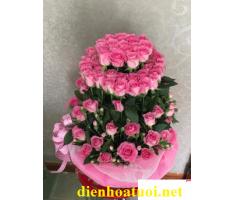 Giỏ hoa hồng phấn - DH367