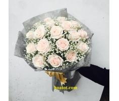 Bó hồng kem dâu - DH616