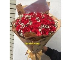 Bó hồng đỏ kèm baby - DH617