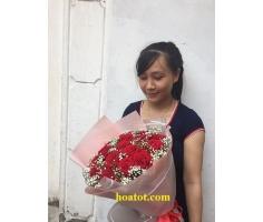 Bó hoa hồng đỏ nhập khẩu - DH606
