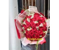 Bó hoa hồng đỏ đẹp - DH696