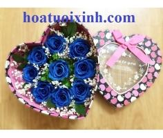 Hộp hoa hồng xanh - DH339