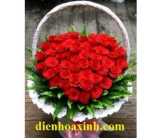 Giỏ hoa trái tim - DH357