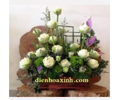 Giỏ hoa sen trắng - DH438