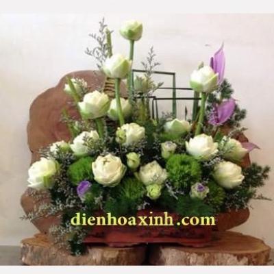 Giỏ hoa sen trắng - DH1041